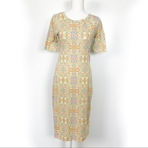 Lularoe | Julia Dress Pastel Design Yellow Size XS